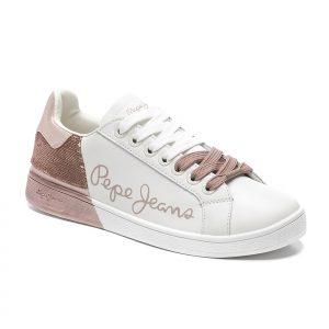 deportiva, blanca, pepe jeans, logo, rosa