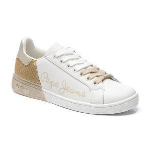 deporiva, blanca, pepe jeans, logo, oro