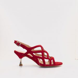 sandalia tacón bajo RENETTI rojo