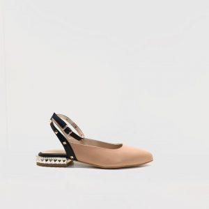 zapato, plano, pulsera, renetti, tachuela, nude