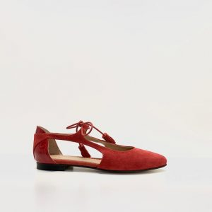 zapato. plano. rojo, renetti