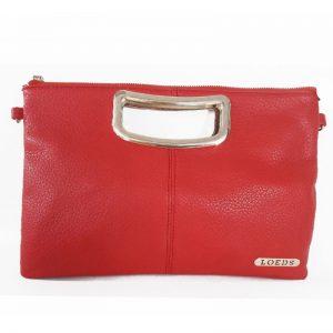 bolso de mano LOEDS rojo con asas y logo dorado
