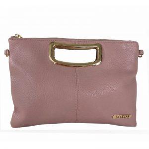 Bolso de mano LOEDS rosa con logo y detalles metalizado
