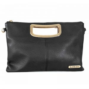 bolso de mano LOEDS negro con asa y lodo en dorado