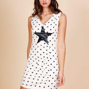Vestido MINUETO de tirantes con estampado de estrellas