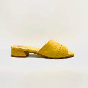 pala, tacón bajito, serraje, amarillo