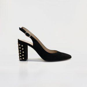 Zapato, salon de tacón, destalonado, ante, negro, con tachuelas