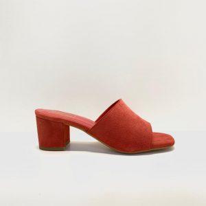 sandalia, pala, tacón medio, rojo