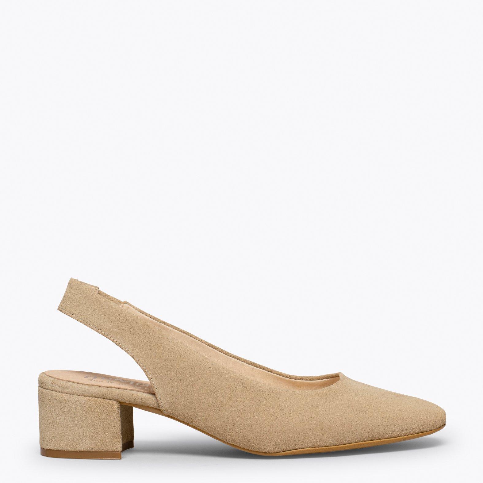 LADY Zapato destalonado con puntera cuadrada BEIG
