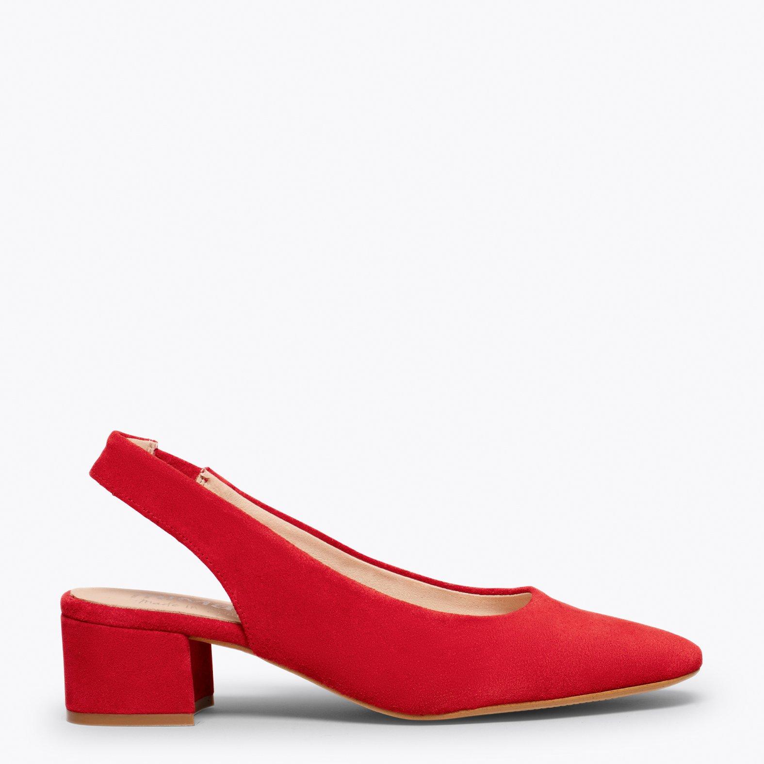 LADY Zapato destalonado con puntera cuadrada ROJO